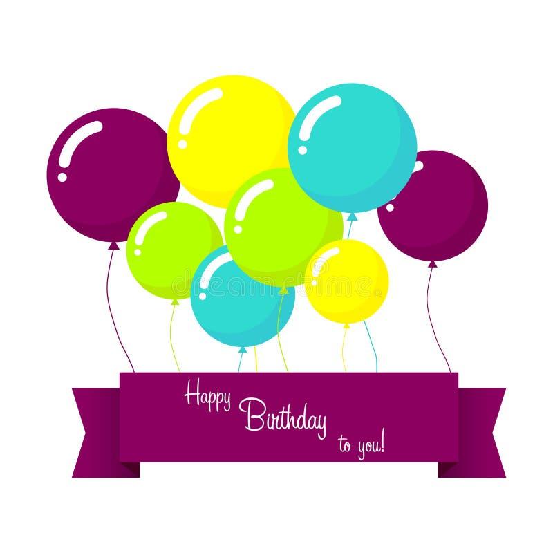 Carte de joyeux anniversaire de vecteur avec les ballons bleus illustration stock