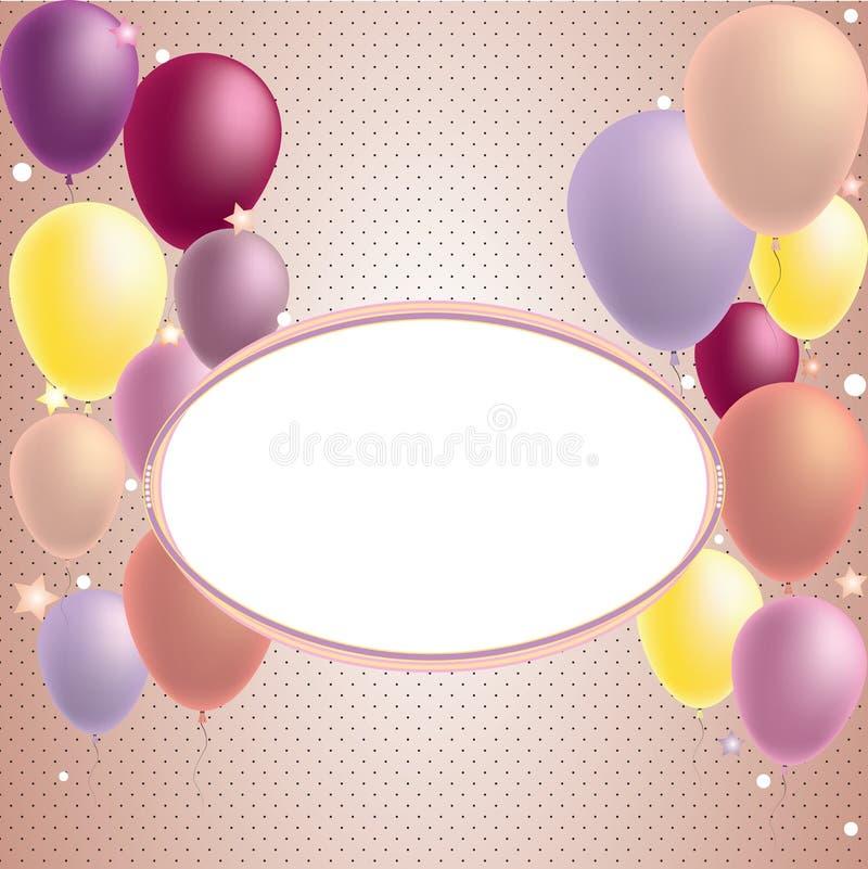 Carte de joyeux anniversaire et d'invitation de ballon de partie illustration libre de droits