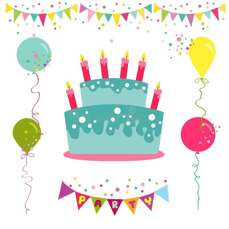 Carte de joyeux anniversaire et d'invitation de partie illustration de vecteur