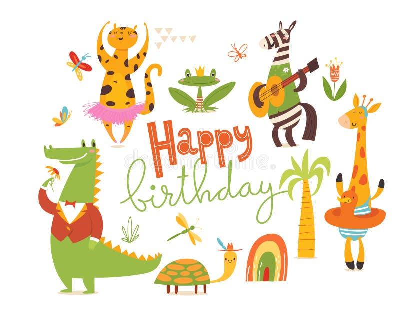 Carte de joyeux anniversaire Grand ensemble d'animaux sauvages de bande dessinée illustration de vecteur