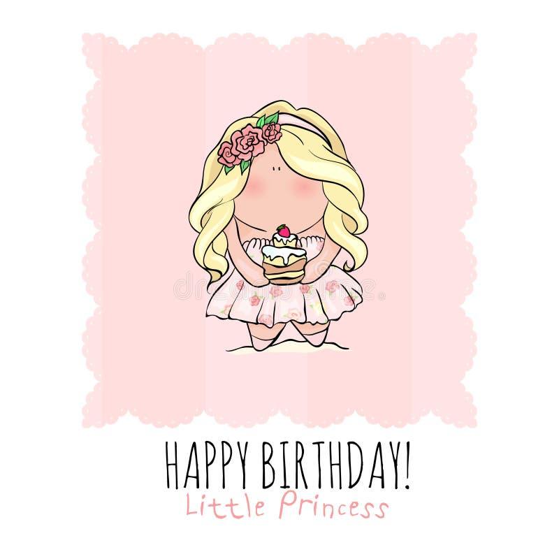 Carte de joyeux anniversaire pour la fille Petite fille mignonne griffonnage illustration de vecteur