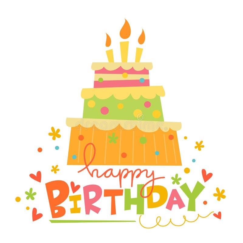 Carte de joyeux anniversaire de vecteur avec le gâteau mignon illustration libre de droits