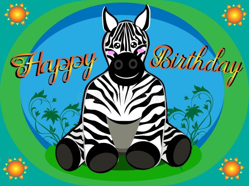 Carte Anniversaire Zebre.Zebre Sur La Carte De Joyeux Anniversaire Illustration De