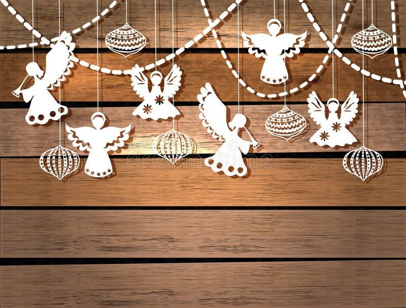Carte de Joyeux Noël avec des anges et des jouets illustration stock