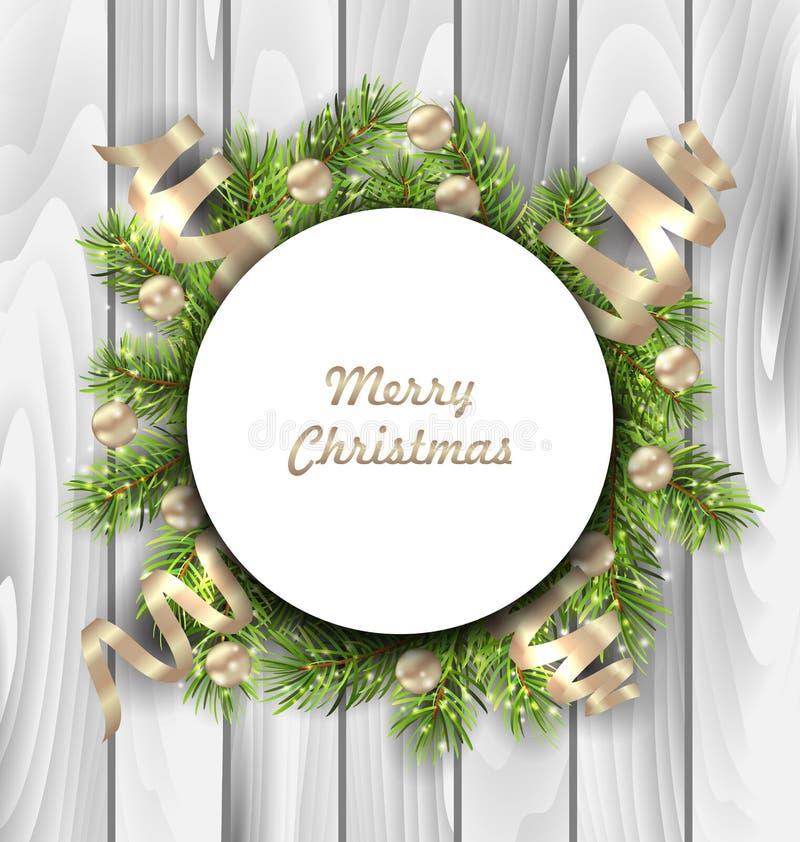 Carte de Joyeux Noël avec des brindilles de sapin, boules illustration libre de droits
