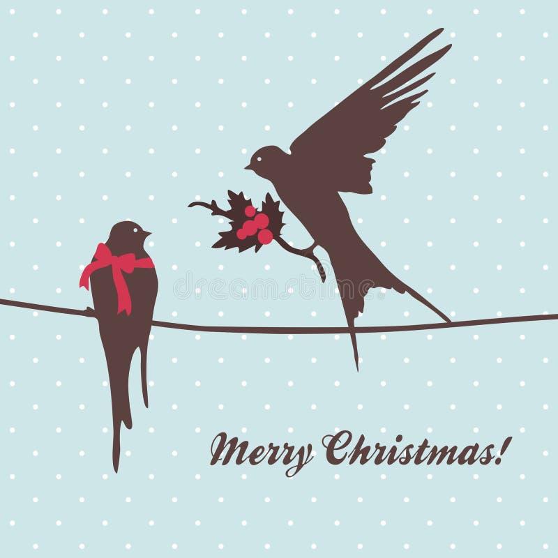 Carte de Joyeux Noël avec des oiseaux illustration stock