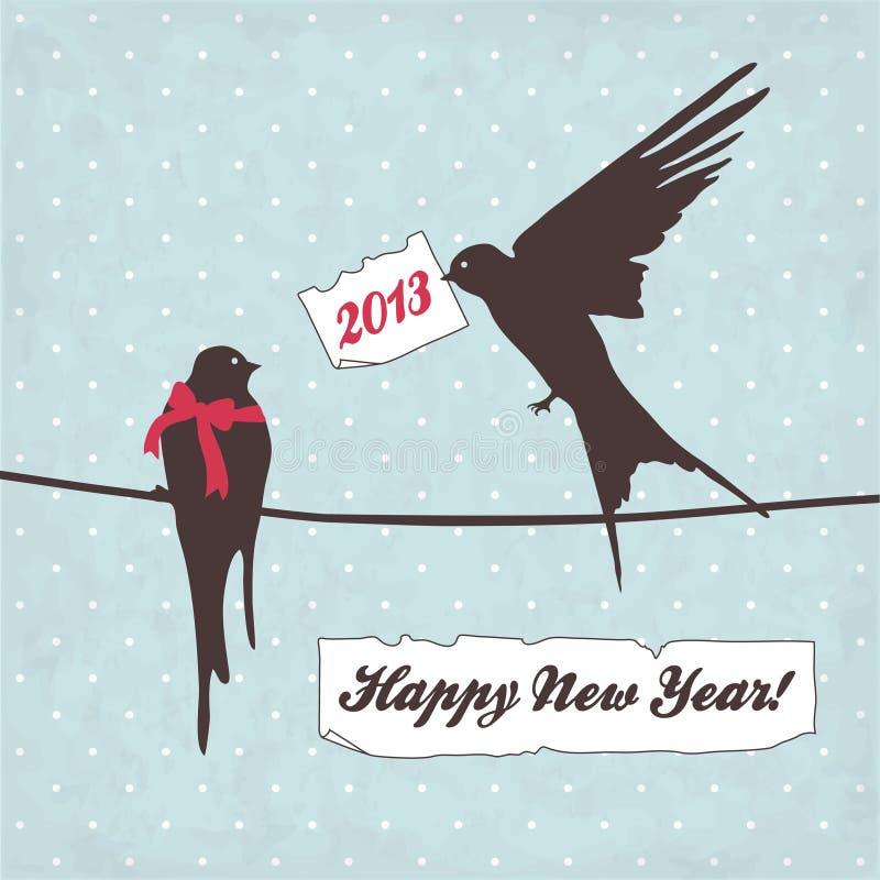 Carte de Joyeux Noël avec des oiseaux illustration libre de droits