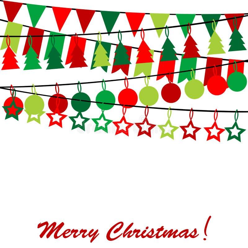 Carte de Joyeux Noël avec l'étamine et les guirlandes illustration libre de droits