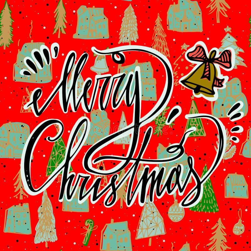 Carte de Joyeux Noël avec la cloche et le modèle sans couture lumineux Carte de voeux du ` s de saison Main marquant avec des let illustration libre de droits