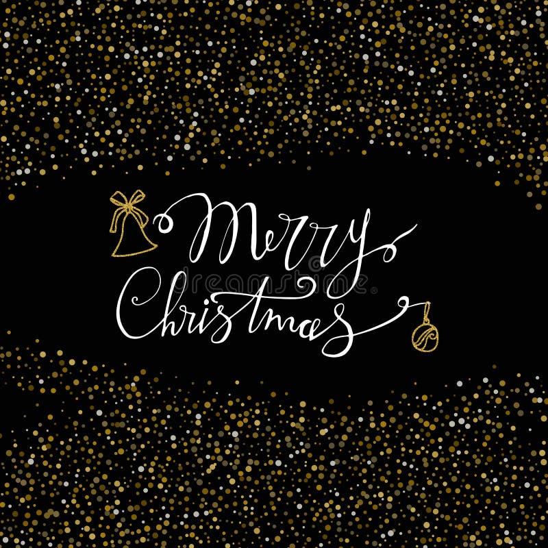 Carte de Joyeux Noël avec la cloche de scintillement d'or et le fond de neige Lettrage moderne Invitation d'an neuf Utilisé pour  illustration libre de droits