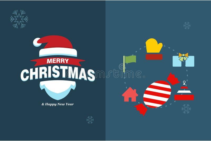 Carte de Joyeux Noël avec la conception et le vecteur elegent de typographie image stock