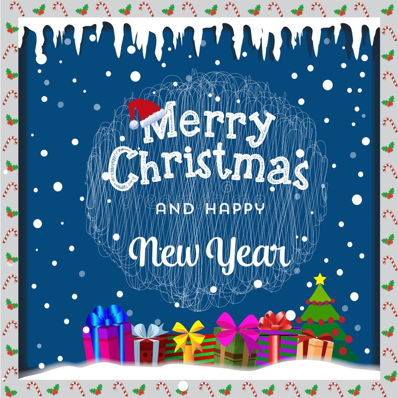 Carte de Joyeux Noël avec la neige, les glaçons, l'arbre de Noël et le GIF illustration libre de droits