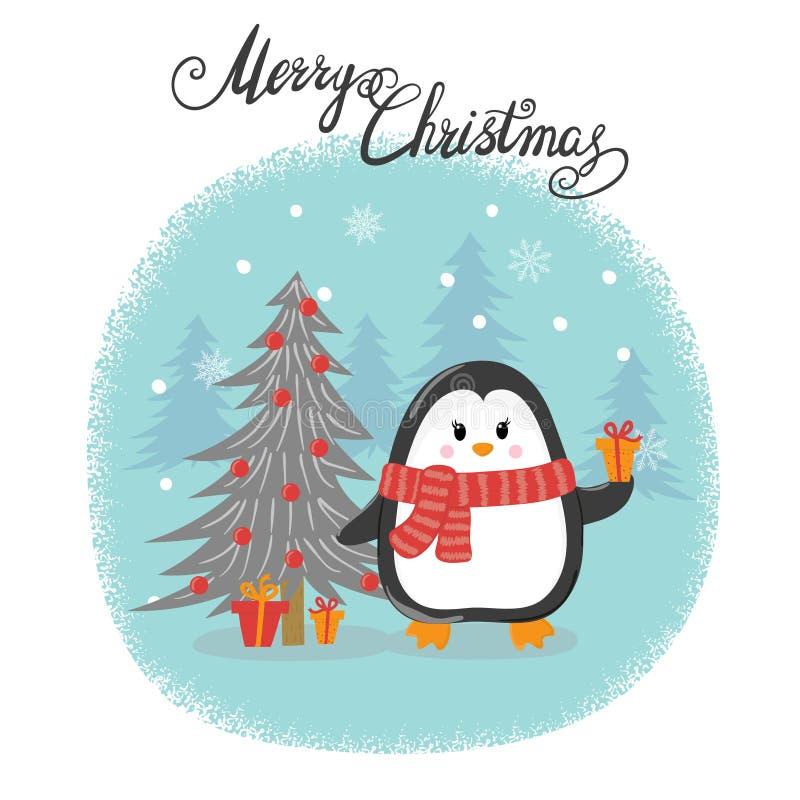 Carte de Joyeux Noël avec le pingouin mignon de bande dessinée illustration libre de droits