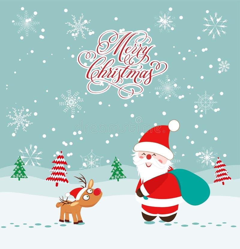 Carte de Joyeux Noël avec les cerfs communs et le père noël illustration de vecteur