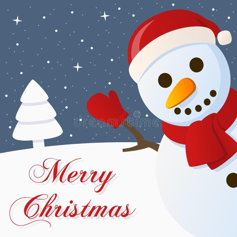 Carte de Joyeux Noël de Milou de bonhomme de neige illustration libre de droits
