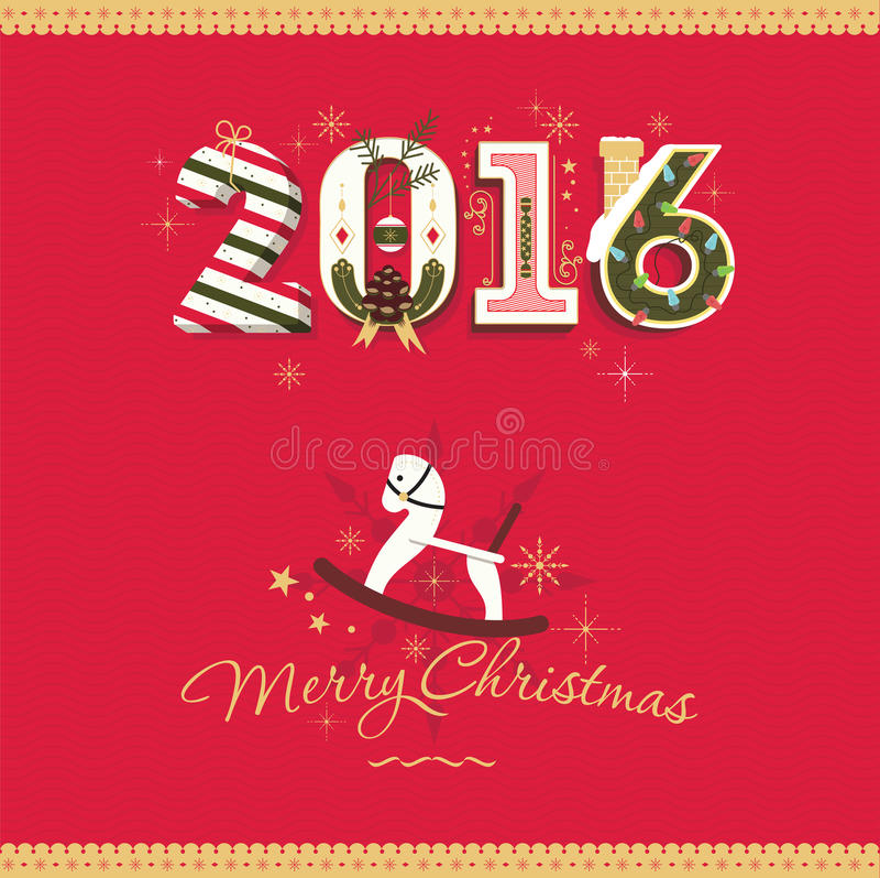 Carte 2016 de Joyeux Noël de vecteur de félicitation image stock