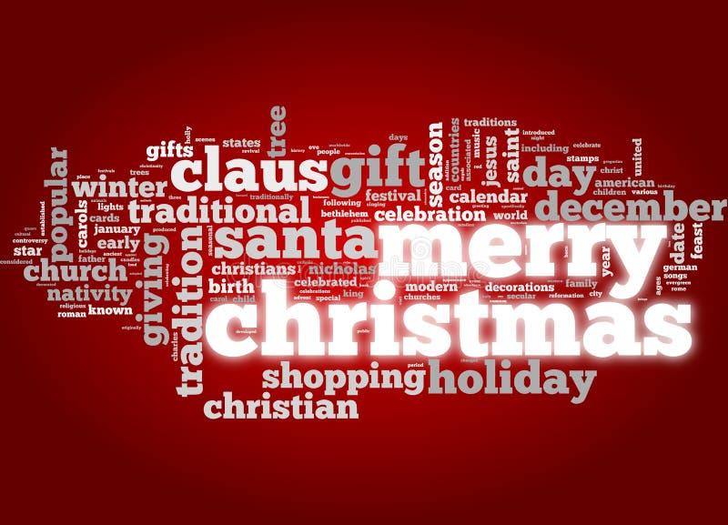 Carte de Joyeux Noël en nuage d'étiquette illustration de vecteur