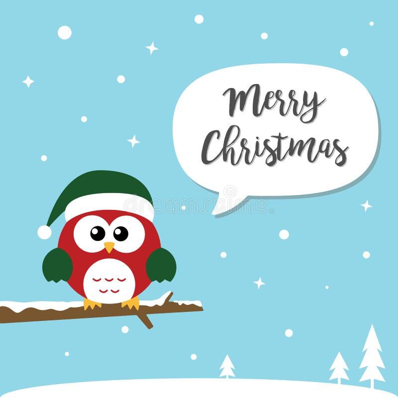 Carte de Joyeux Noël et de bonne année Les hiboux mignons de Noël se reposent illustration de vecteur