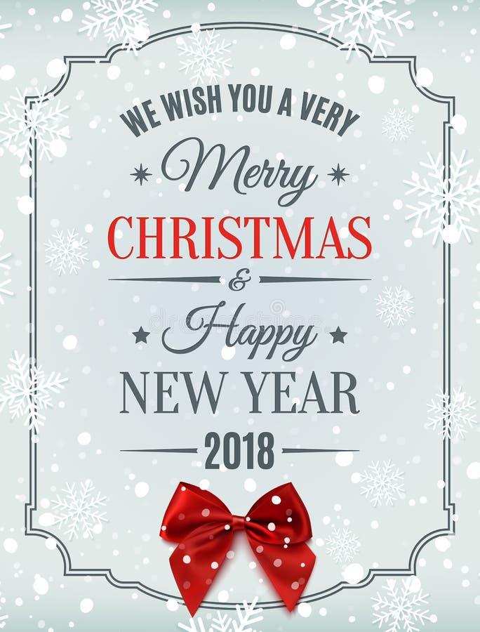 Carte de Joyeux Noël et de bonne année 2018 illustration de vecteur