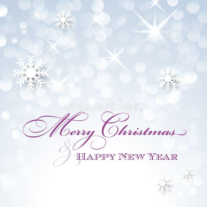 Carte de Joyeux Noël et de bonne année avec des flocons de neige illustration libre de droits