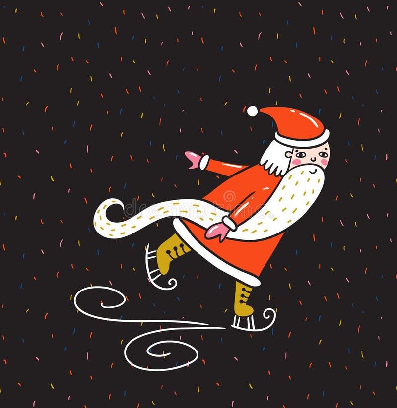 Carte de Joyeux Noël et de nouvelle année avec Santa Claus illustration de vecteur