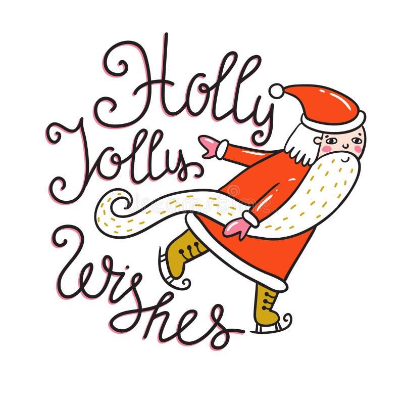 Carte de Joyeux Noël et de nouvelle année avec Santa Illustration de vacances de vecteur avec le label de lettrage sur le fond de illustration libre de droits