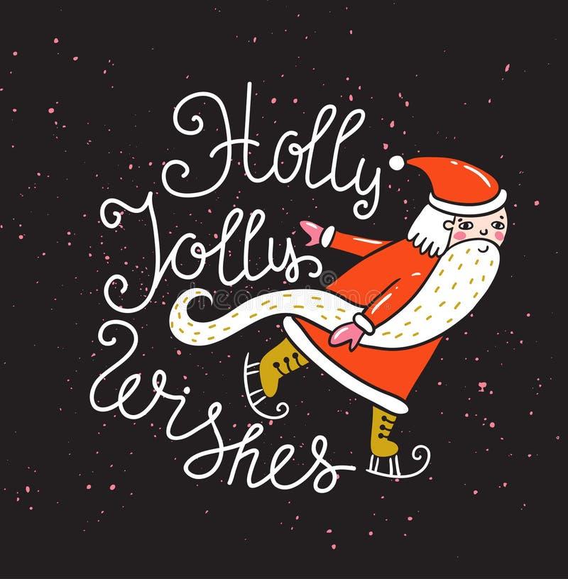 Carte de Joyeux Noël et de nouvelle année avec Santa Illustration de vacances de vecteur avec le label de lettrage sur le fond de illustration de vecteur
