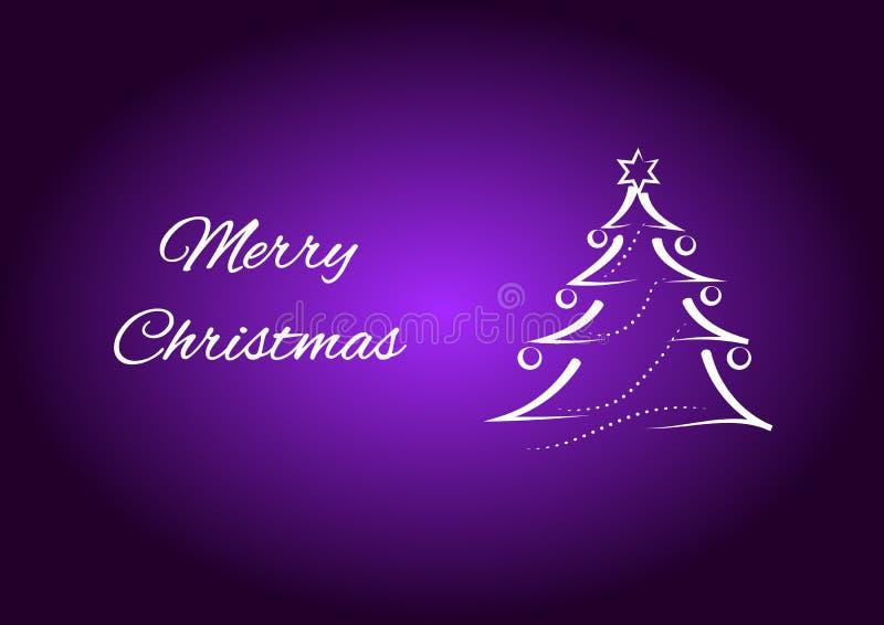 Carte de Joyeux Noël et souhaits, illustration d'arbre de Noël avec le fond pourpre illustration de vecteur