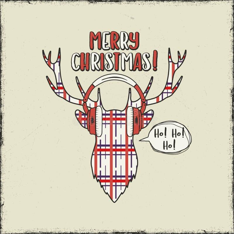 Carte de Joyeux Noël Tête tirée par la main de cerfs communs de cru avec des écouteurs Affiche drôle de salutation de griffonnage illustration de vecteur