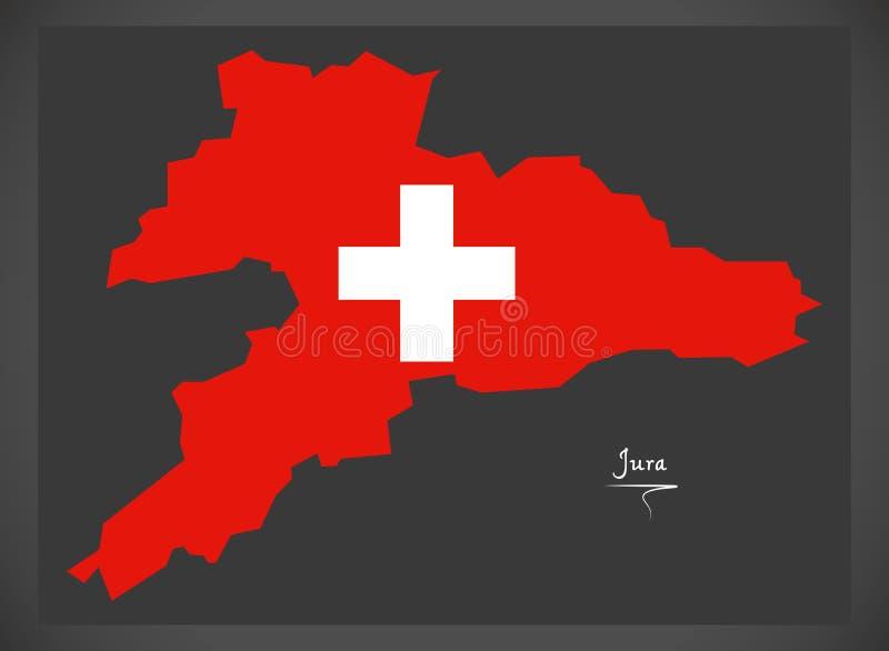 Carte de Jura de la Suisse avec l'illustration suisse de drapeau national illustration libre de droits