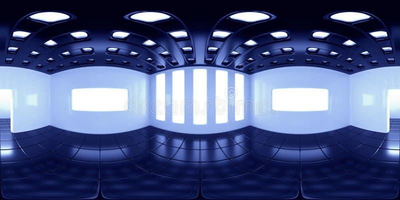 carte de 8K HDRI, fond sphérique de panorama d'environnement, source lumineuse intérieure contrastée moderne rendant l'equirectan illustration stock