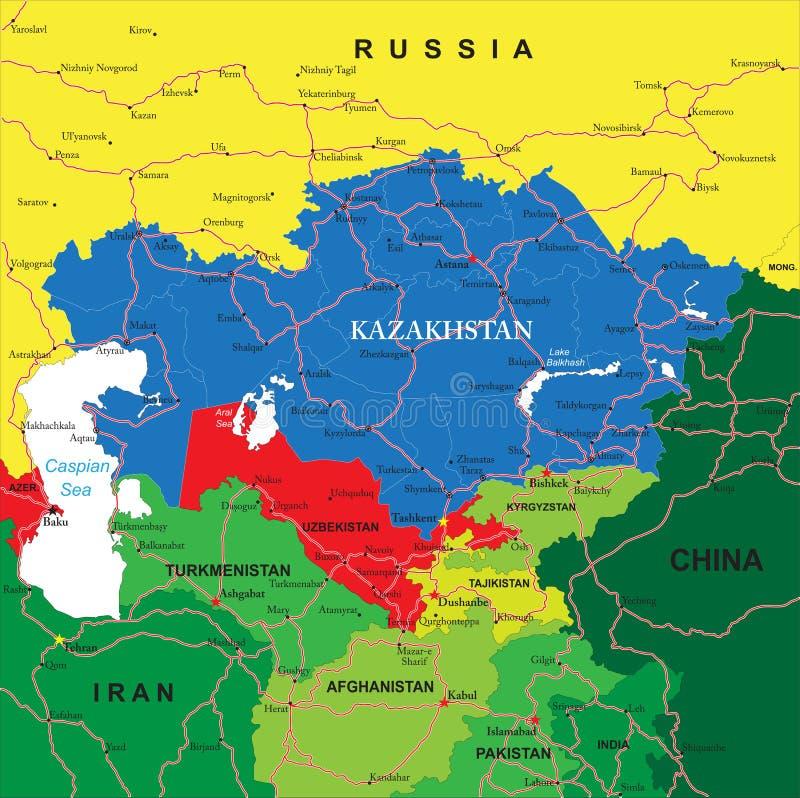 Carte de Kazakhstan illustration de vecteur