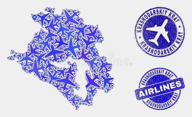 Carte de Krasnodarskiy Kray de vecteur de composition en avion et joints grunges illustration de vecteur