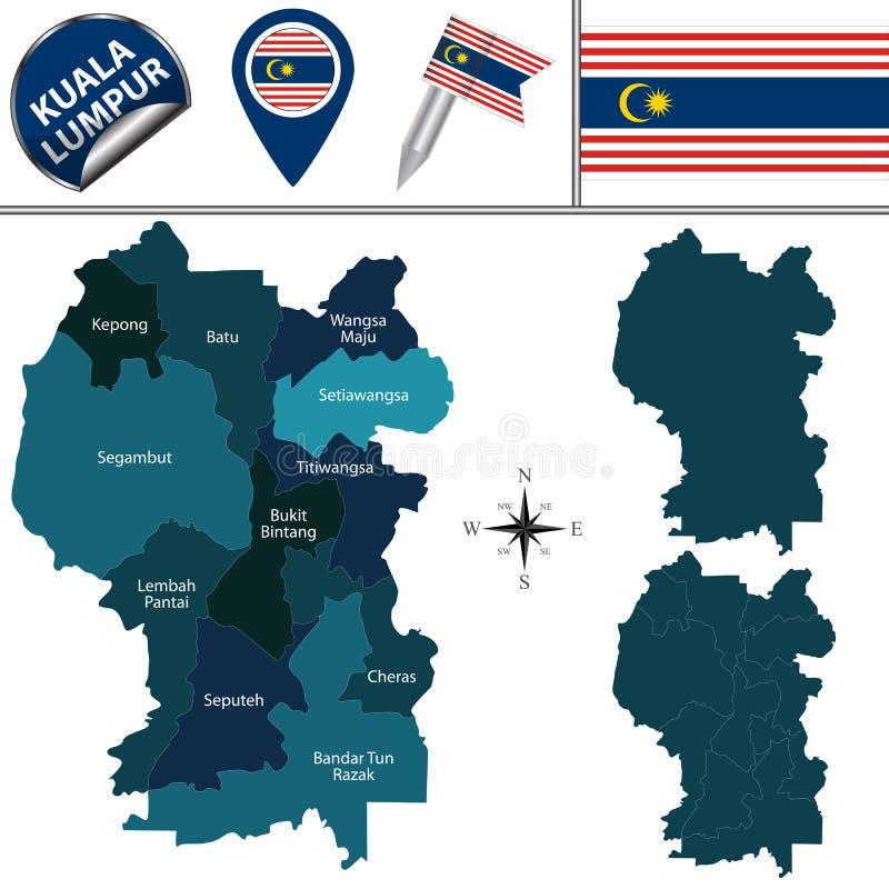 Carte de Kuala Lumpur avec des secteurs illustration stock