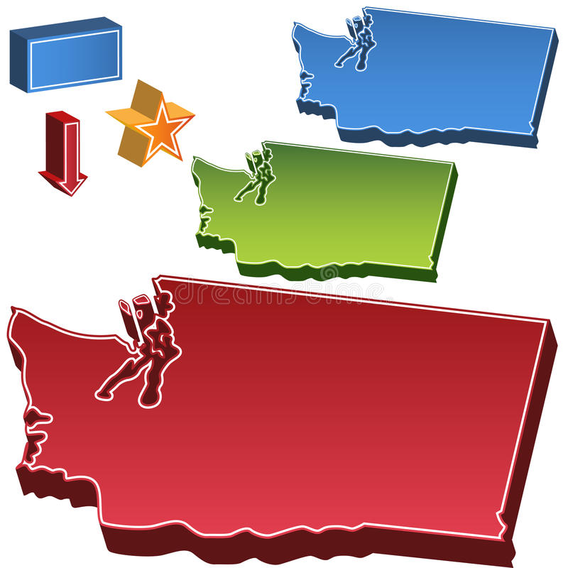 Carte de l'état de Washington illustration de vecteur