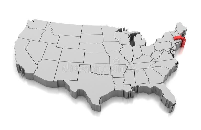 Carte de l'état du Massachusetts, Etats-Unis illustration libre de droits