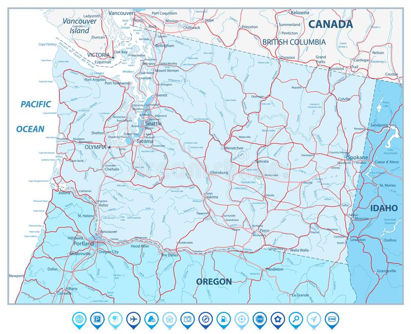 Carte de l'état de Washington en couleurs des icônes de bleu et de navigation illustration libre de droits