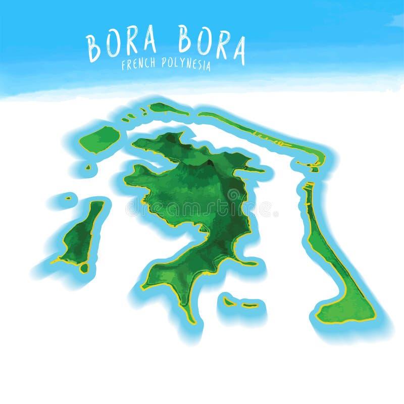 Carte de Bora Bora illustration de vecteur. Illustration du forme - 53387811