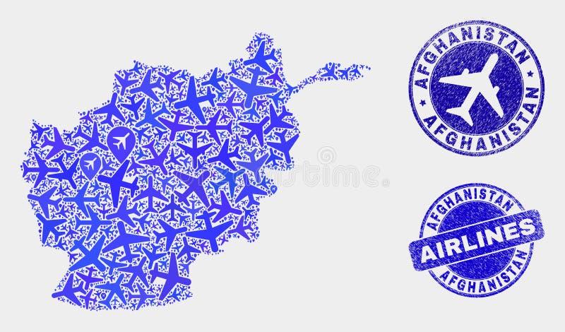 Carte de l'Afghanistan de vecteur de mosaïque d'aviation et joints grunges illustration libre de droits