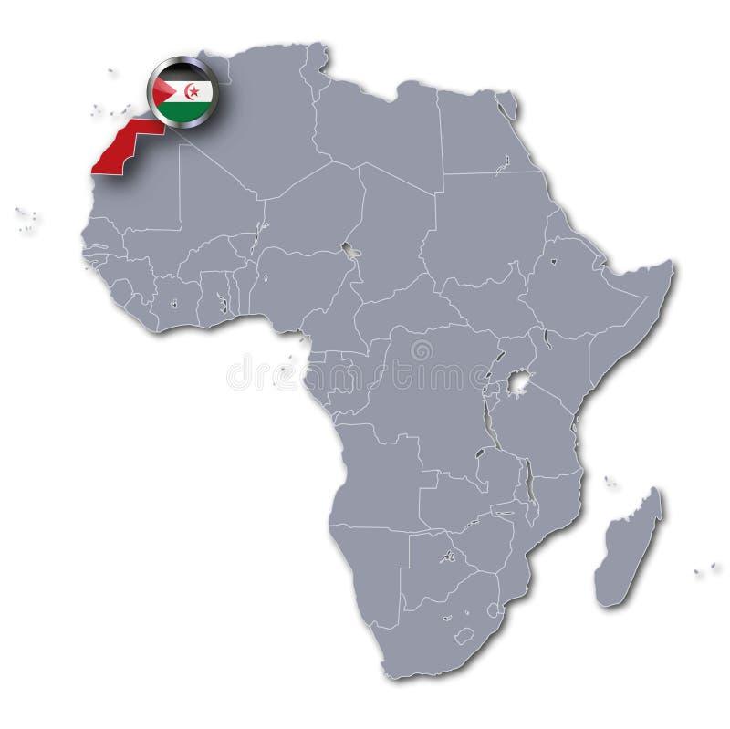 Carte de l'Afrique avec la Sahara occidental illustration libre de droits