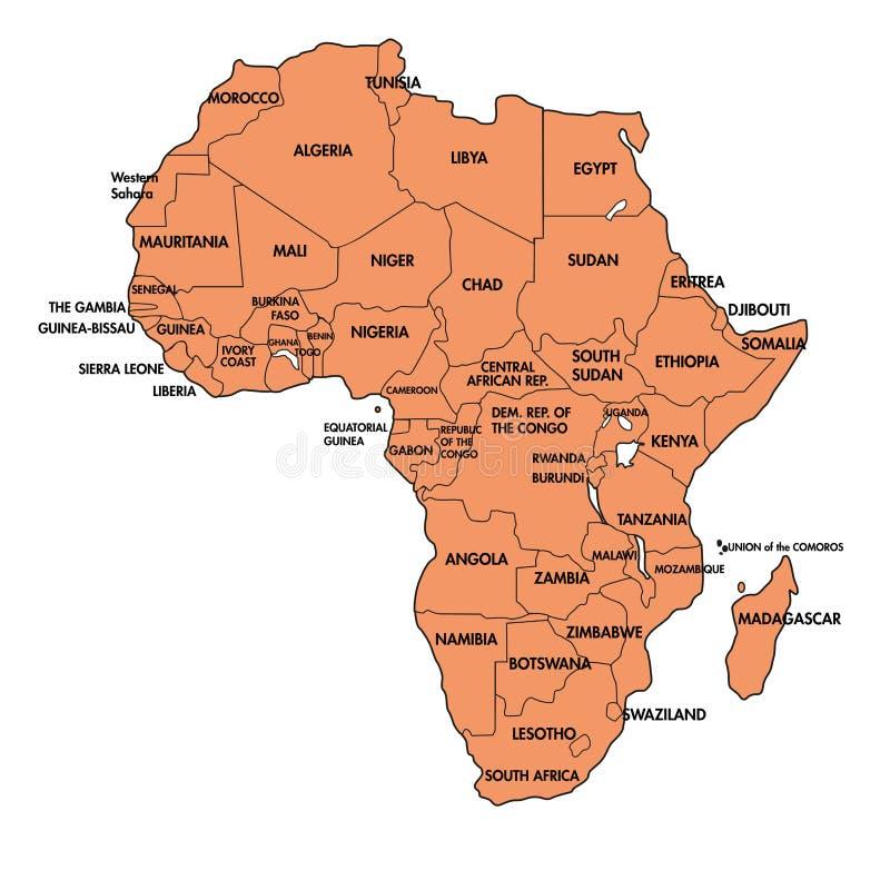 Carte de l'Afrique avec tous les pays illustration de vecteur
