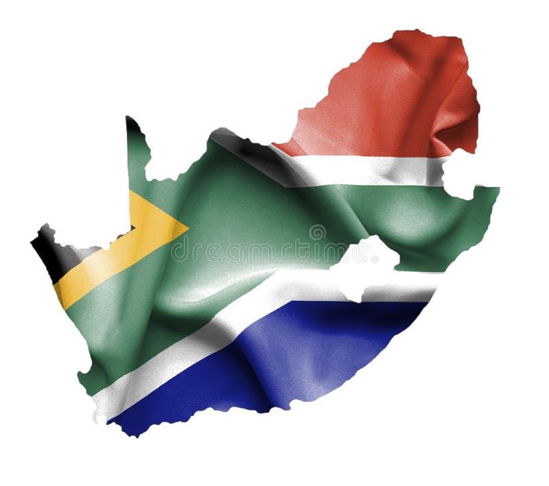 Carte de l'Afrique du Sud avec le drapeau de ondulation d'isolement sur le blanc illustration stock