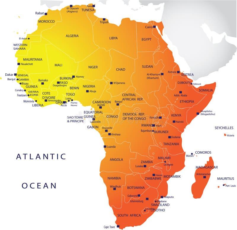 carte de l'Afrique politique illustration de vecteur
