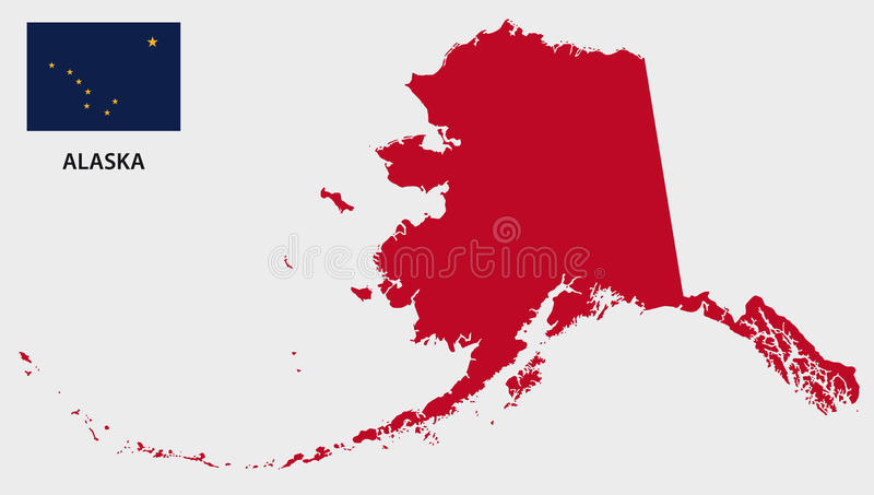 Carte de l'Alaska avec le drapeau illustration libre de droits