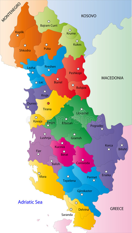 Carte de l'Albanie illustration libre de droits
