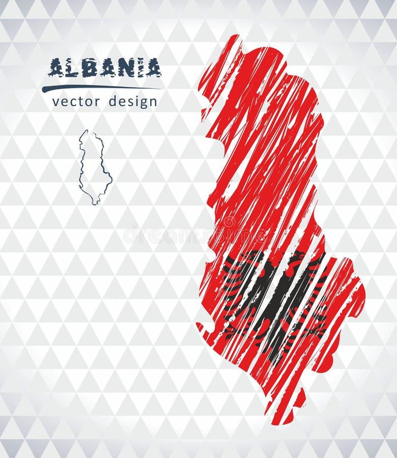 Carte de l'Albanie avec la carte de croquis tirée par la main à l'intérieur Illustration de vecteur illustration stock