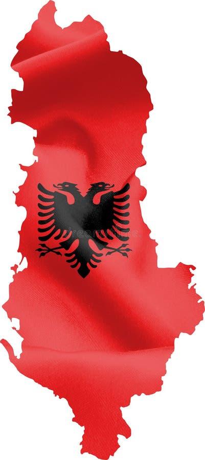 Carte de l'Albanie avec le drapeau illustration de vecteur
