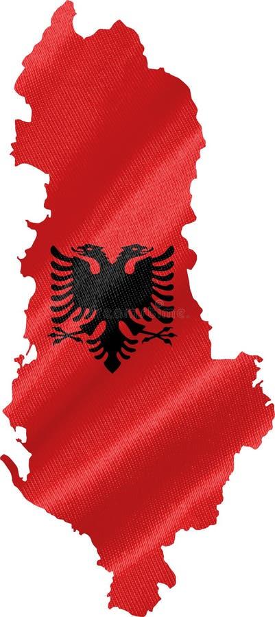 Carte de l'Albanie avec le drapeau illustration libre de droits