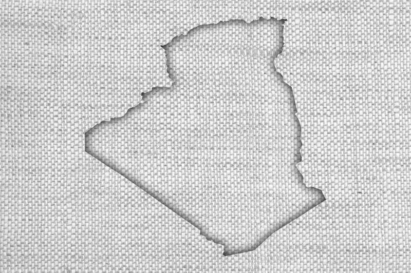 Carte de l'Algérie sur la vieille toile images stock
