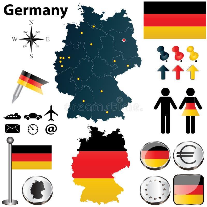 Carte de l'Allemagne avec des régions illustration de vecteur